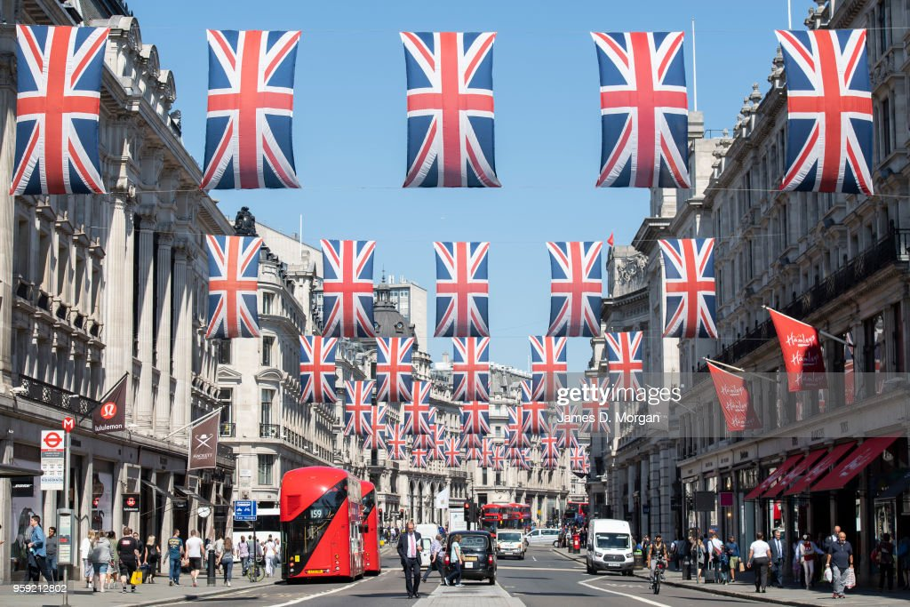 Union Jack flags fly in the sunshine on Regent Street on May 15, 2018 in London, England. The Royal Wedding between Prince Harry and Meghan Markle will be held at Windsor Castle in Berkshire on May 19, 2018.
