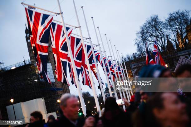 Union Jack flags hang in Parliament Square in London, England, on January 31, 2020. Britain's exit from the European Union, today at 11pm UK time ,...