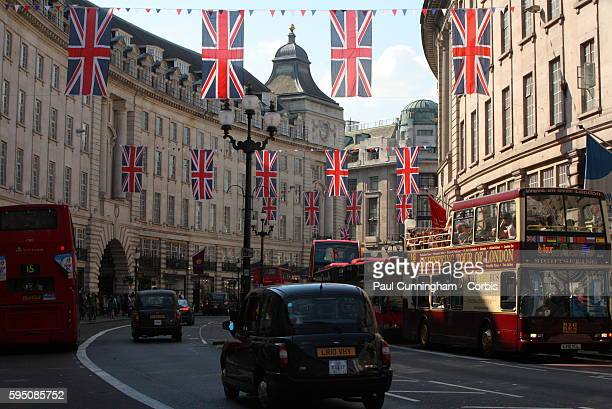 Union Jack Flags in the breeze along Regent Street in London celebrating the Royal wedding of Prince William and Catherine Middleton on the 29th...