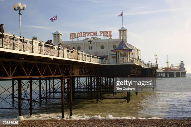 Union Jack flags on Brighton Pier, England, United Kingdom