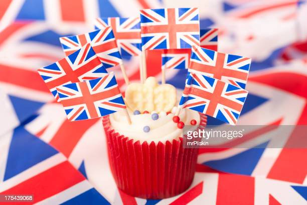 Union Jack flags on cupcake