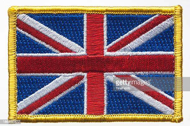 union jack, great britain's flag patch. - embroidery stock pictures, royalty-free photos & images