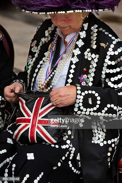 Union Jack handbag at the Pearly Kings and Queens Harvest Festival celebrations at Guildhall Yard The annual event features early English...