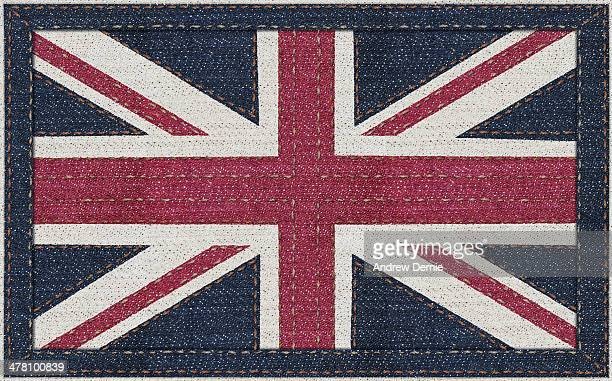 union jack in denim - andrew dernie stock pictures, royalty-free photos & images
