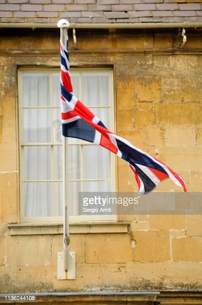 Union Jack on a limestone wall