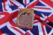 slice british pork pie background several