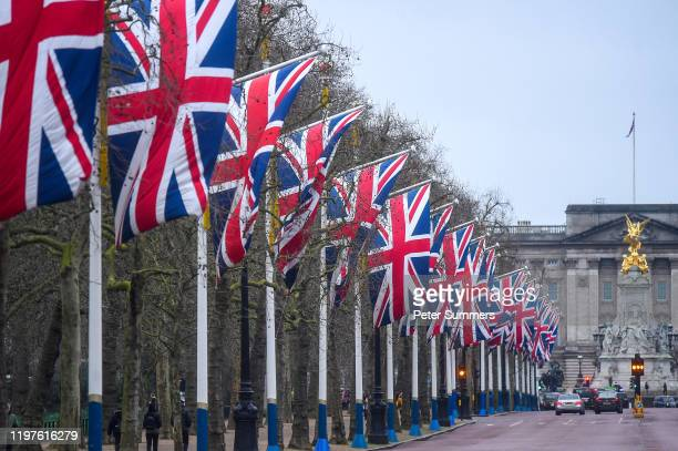 Union Jacks fly on The Mall on January 1, 2020 in London, England.. At 11.00pm on Friday 31st January the UK and Northern Ireland will exit the...