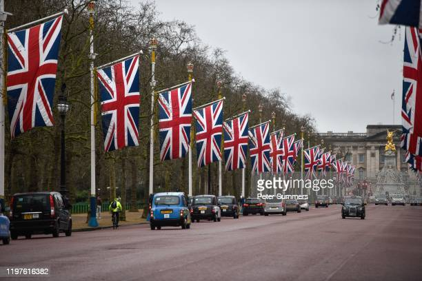 Union Jacks fly on The Mall on January 1, 2020 in London, England. At 11.00pm on Friday 31st January the UK and Northern Ireland will exit the...