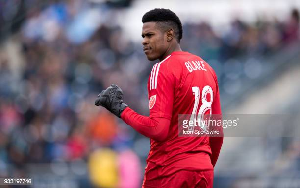 Union Keeper Andre Blake looks on after a defense stop in the first half during the game between the Columbus Crew and Philadelphia Union on March 17...