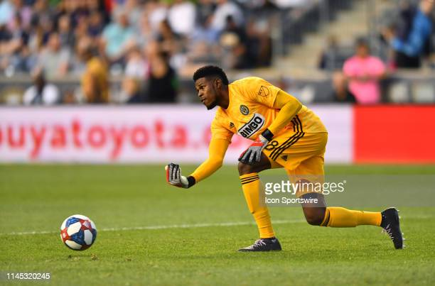 Union Keeper Andre Blake passes the ball in the first half during the game between the Seattle Sounders and Philadelphia Union on May 18 2019 at...