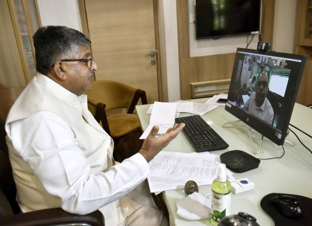 IND: Union Minister Ravi Shankar Prasad Attends A Video Conferencing Meeting On Covid-19 Preparation