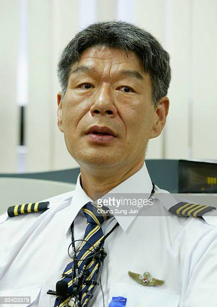 Union leader of Korean Air Shin ManSoo speaks at the press conference on August 18 2005 in Seoul South Korea South Korea's largest airline said about...