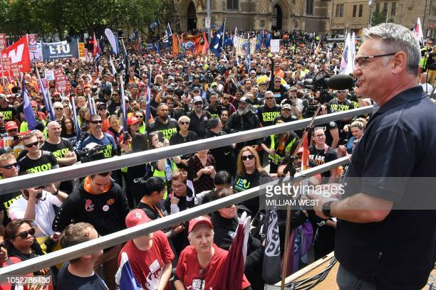 A union leader speaks during a rally through the streets of Melbourne on October 23 2018 Protests were held in capital cities across Australia as...