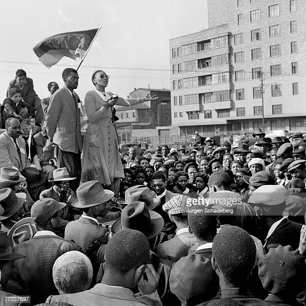 Union leader Violet Hashe addresses a crowd in Red Square in the Johannesburg suburb of Fordsburg South Africa at an ANC rally held to mark the 300th...