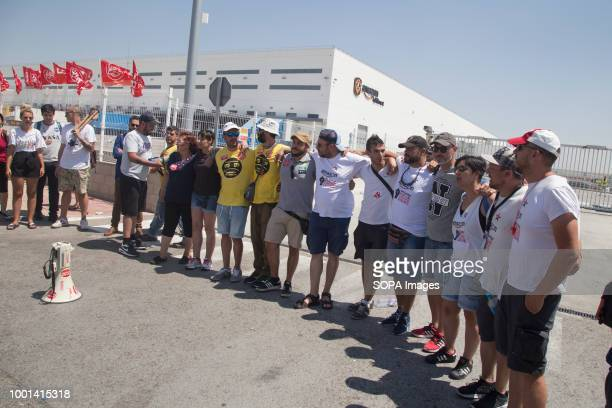 Union leaders are seen posing for the media A three day strike by the works council during the Prime Day demanding the company to agree to the main...