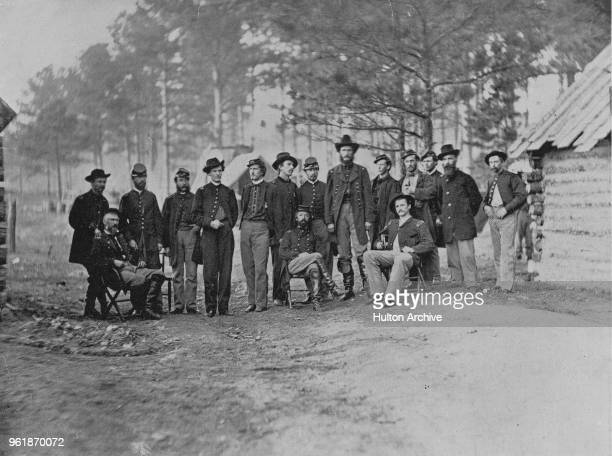 Union Major General Godfrey Weitzel and the staff of XVIII Corps Army of the James after the capture of Fort Harrison on 5 October 1864 during the...