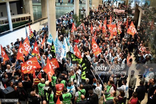 Union members gather inside Paris public transports operator headquarters La Maison de la RATP in Paris on September 13 2019 during a oneday strike...