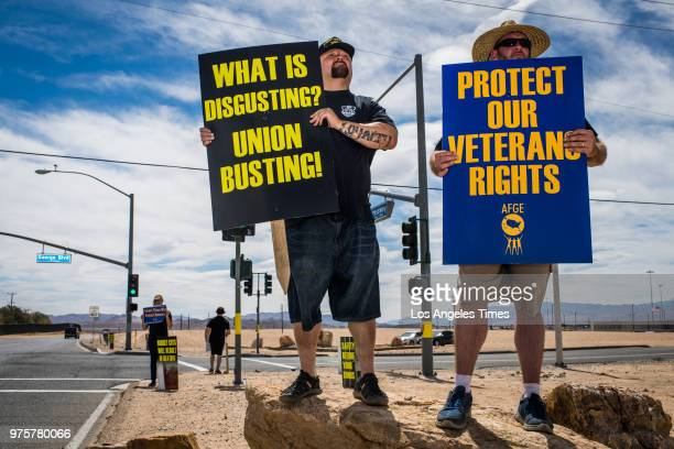 Union members protest outside FCC Victorville where around 1000 new ICE detainees have been transferred with no increase in staffing on Tuesday June...