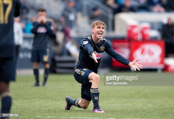 Union Midfielder Borek Dockal reacts to not receiving a foul call after being pushed over in the second half during the game between the Columbus...