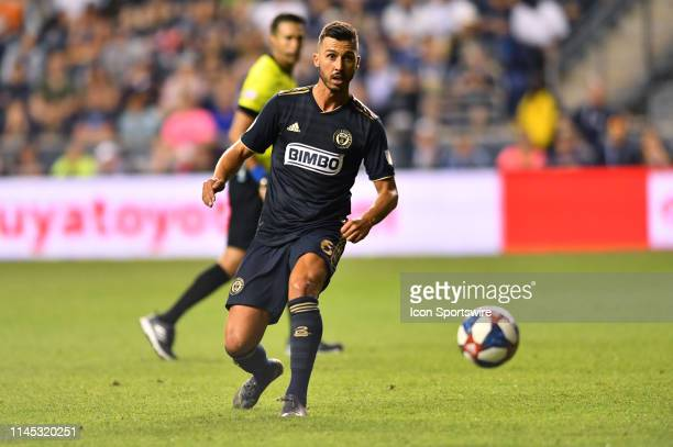 Union Midfielder Haris Medunjanin makes a pass in the second half during the game between the Seattle Sounders and Philadelphia Union on May 18 2019...