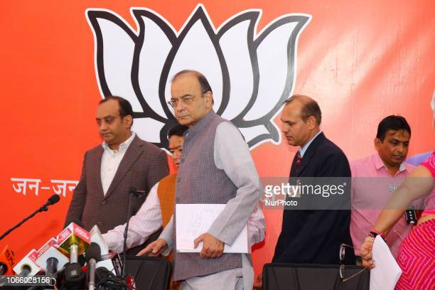 Union Minister amp BJP Senior Leader Arun Jaitley during the release the party manifesto ' Rajasthan Gaurav Sankalp Patra ' for the assembly election...
