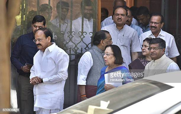 Union Minister and BJP leader Venkaiah Naidu along with other Union Ministers Najma Heptullah Ravi Shankar Prasad Radha Mohan Singh Maneka Gandhi...