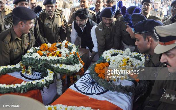 Union Minister Babul Supriyo pays homage to the martyrs CRPF soldier Bablu Santra and Sudip Biswas who are among the 49 CRPF men killed in February...