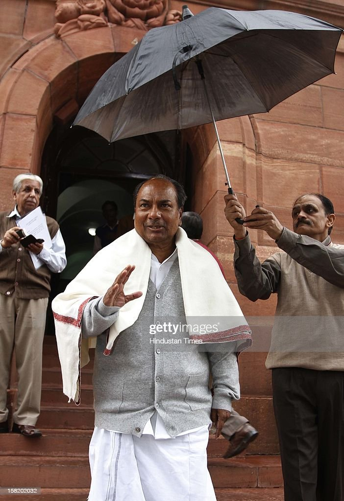 Union Minister for Defence A.K. Antony at Parliament House during the ongoing winter session on December 11, 2012 in New Delhi, India. India's parliament was disrupted for the second successive day as opposition lawmakers over Wal-Mart's discloser in U.S. senate that it has spent $25 million for lobbying activities in India.