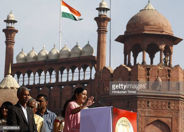 Union Minister for External Affairs Sushma Swaraj and others during the celebration of 5151 years of the Bhagavad Gita at Red Fort Ground on December...