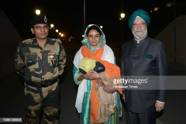Union Minister for Food Processing Industries Harsimrat Kaur Badal and Hardeep Singh Puri arrive after attending the groundbreaking ceremony for the...