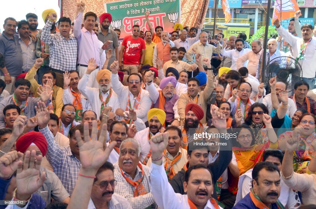 Union Minister for Housing and Urban Affairs Hardeep Singh Puri BJP Punjab President and Rajya Sabha MP Shwait Malik with other BJP leaders and...