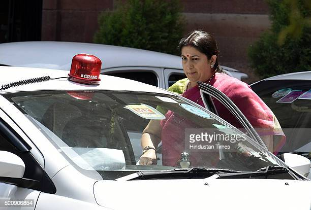 Union Minister for Human Resource Development Smriti Irani coming out after attending the Cabinet Meeting at PM Office South Block on April 13 2016...