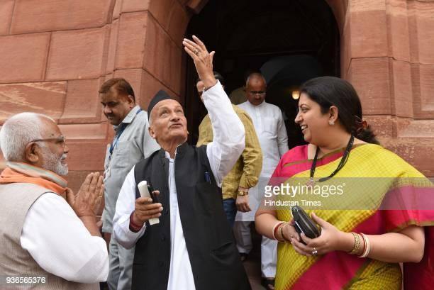 Union Minister for Information and Broadcasting Smriti Irani with BJP Leaders Bhagat Singh Koshyari and Hukumdev Narayan Yadav during the budget...