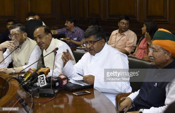 Union Minister for Law and Justice Electronics and IT Ravi Shankar Prasad with Union Minister Vijay Goel Union Minister for Labour and Employment...