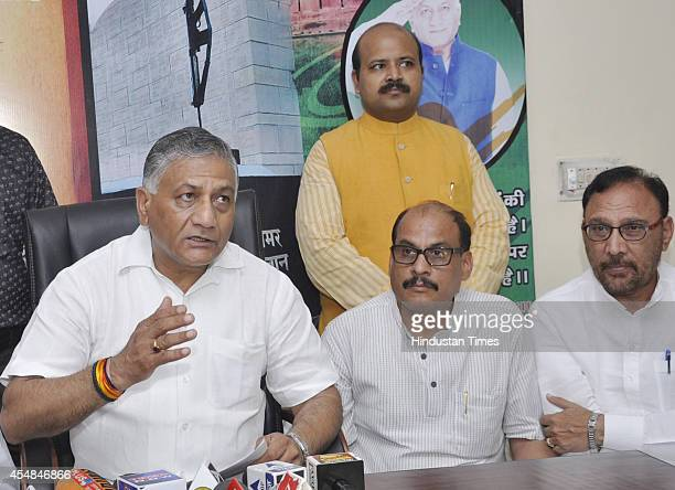 Union Minister former Army Chief and Ghaziabad MP VK Singh speaks during a press conference at his residence in Raj Nagar Sector 2 on September 07...