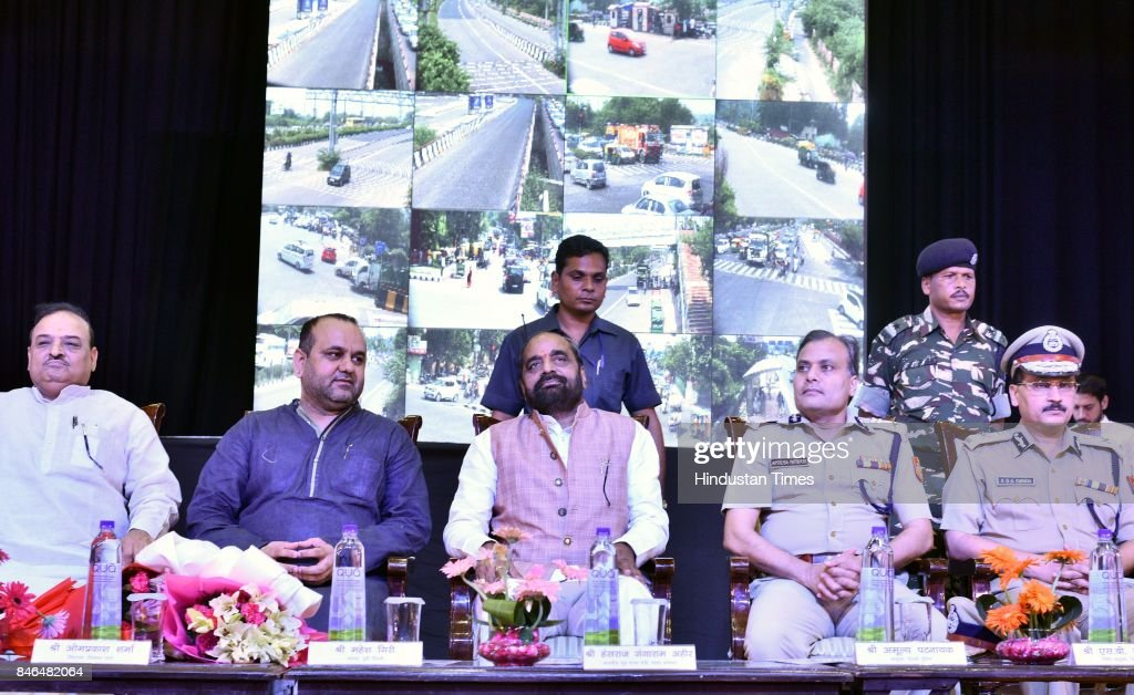 Union Minister Hansraj Ahir and others during the inauguration of CCTV Network at Vivekanand School Auditorium near Anand Vihar, on September 13, 2017 in New Delhi, India.