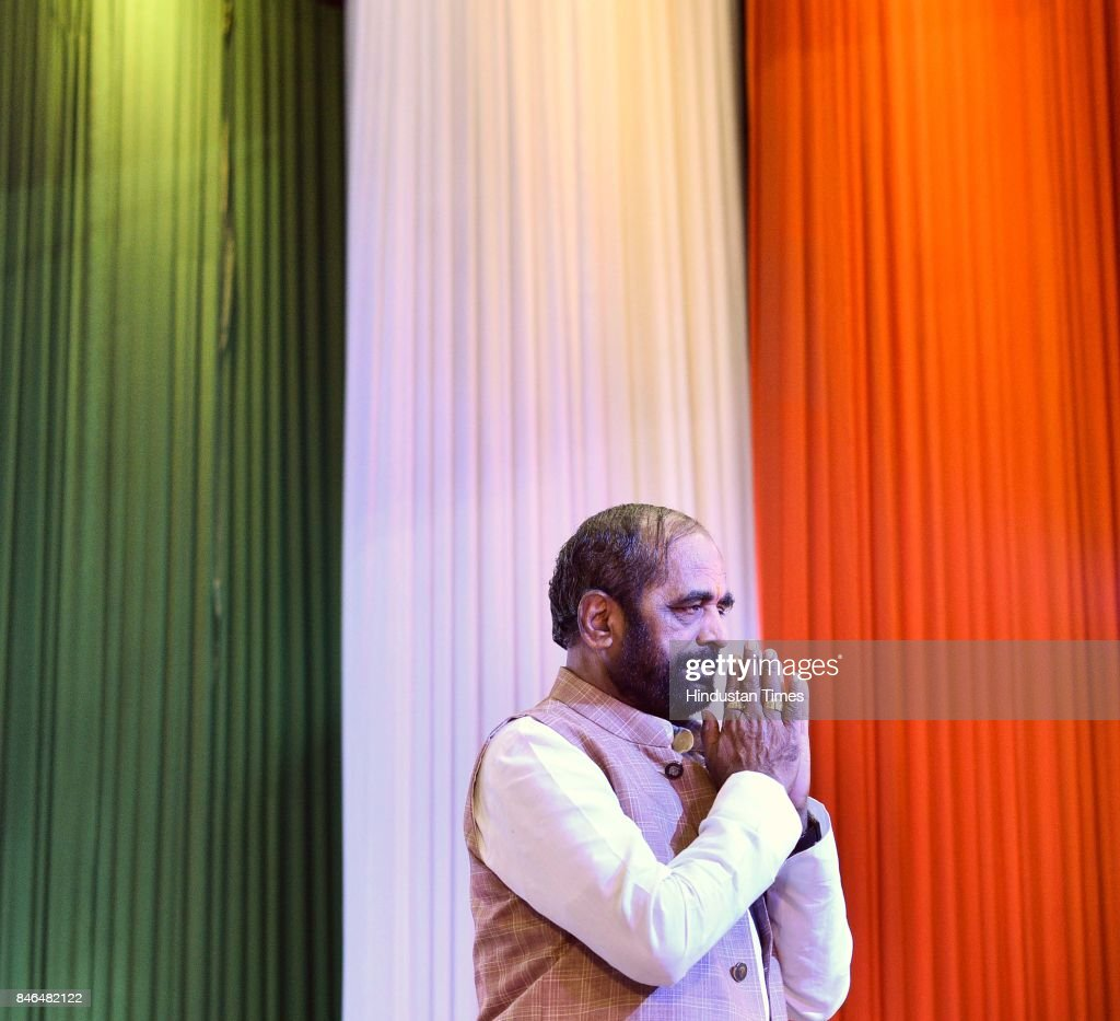 Union Minister Hansraj Ahir during the inauguration of CCTV Network at Vivekanand School Auditorium near Anand Vihar, on September 13, 2017 in New Delhi, India.