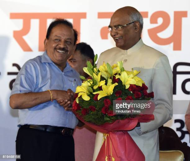 Union Minister Harsh Vardhan greets newly elected President of India Ram Nath Kovind after his win in Presidential election at 10 Akbar Road on July...