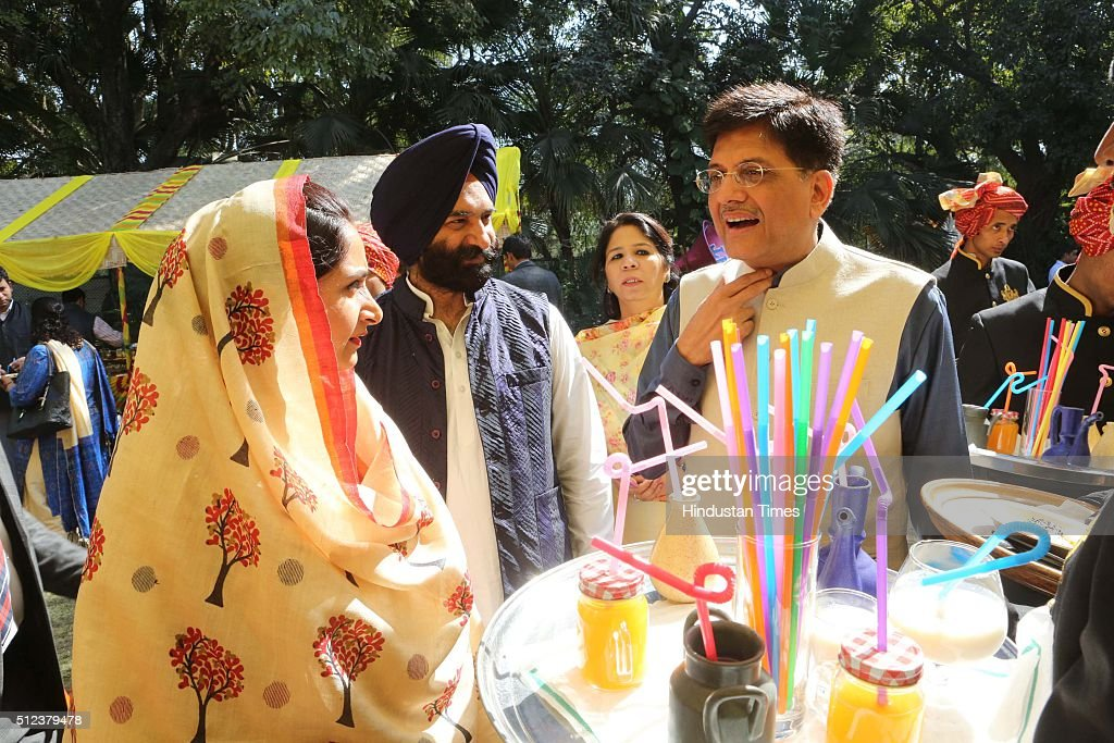 Union Minister Harsimrat Kaur Badal Shiromani Akali Dal leader Manjinder Singh Sirsa and Piyush Goyal Minister of State for Power Coal and New...