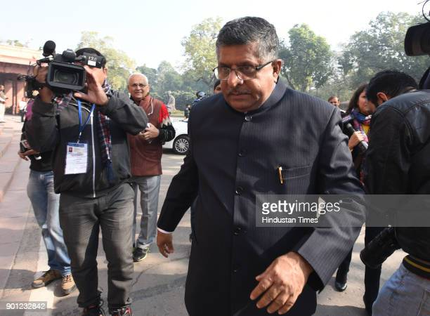 Union Minister holding Law and Justice and Electronics and Information Technology Ravi Shankar Prasad arrives to attend the Parliament Winter Session...