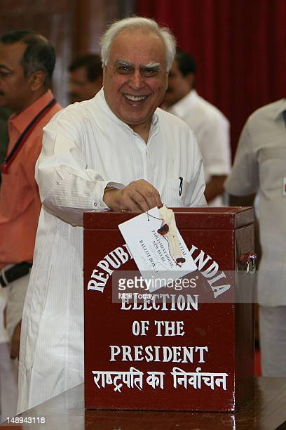 Union minister Kapil Sibal casts his vote during Presidential elections in New Delhi on Thursday 19th July 2012