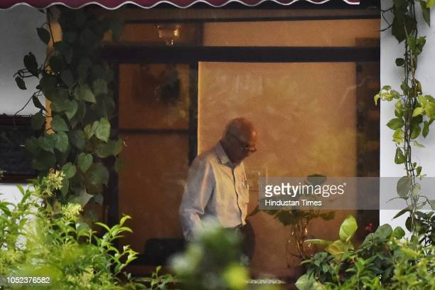 Union Minister MJ Akbar at his Teen Murti Lane residence on October 17 2018 in New Delhi India Akbar resigned on Wednesday after facing charges of...