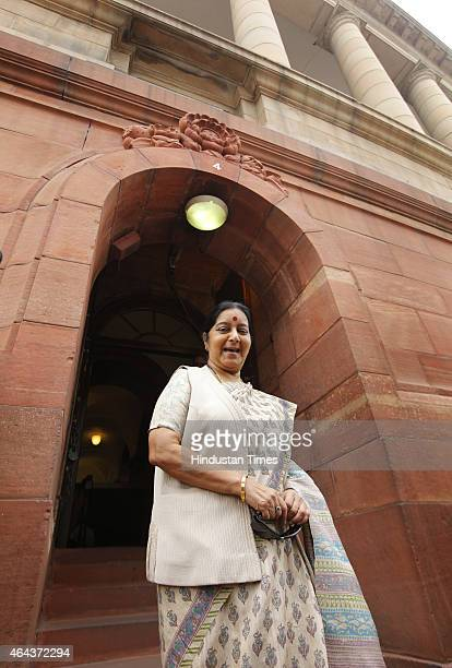 Union Minister of External affairs Sushma Swaraj arrives at the Parliament House during Budget session on February 25 2015 in New Delhi India After...