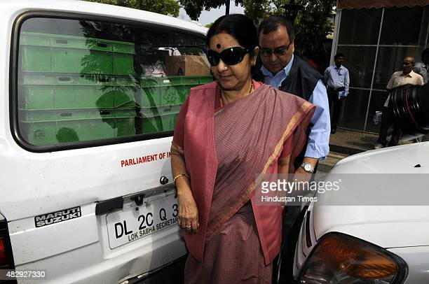 Union Minister of External Affairs Sushma Swaraj arrives to attend the BJP Parliamentary Board Meeting during the Monsoon Session of Parliament on...