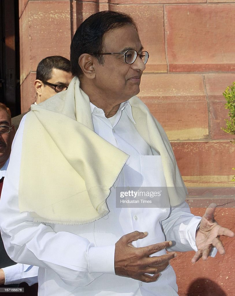 Union Minister of Finance P Chidambaram leaves Parliament House after attending Parliament Winter Session on November 29, 2012 in New Delhi, India. The logjam in Parliament finally ended after government agreed to the voting on FDI issue. The voting after debate will be held next week on December 4 and 5.