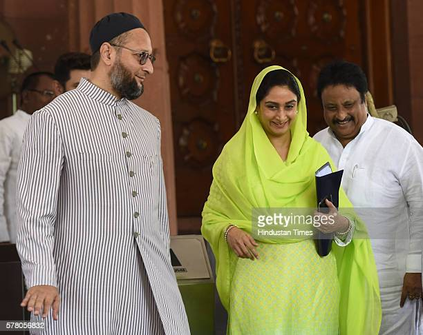 Union Minister of Food Processing Industries Harsimrat Kaur Badal AIMIM President Asaduddin Owaisi and other Parliament members during the Parliament...