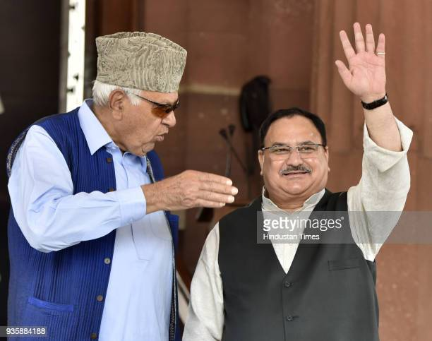 Union Minister of Health and Family Welfare and member of Rajya Sabha from Himachal Pradesh Jagat Prakash Nadda with National Conference leader and...