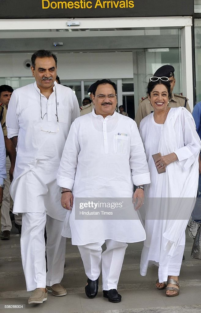 Union Minister of Health and Family Welfare JP Nadda with Chandigarh BJP President Sanjay Tandon and MP from Chandigarh Kirron Kher at Chandigarh...
