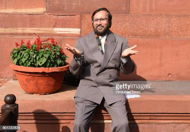 Union Minister of Human Resource Development Prakash Javadekar is seen sun bathing during the Parliament Winter Session on January 4 2018 in New...