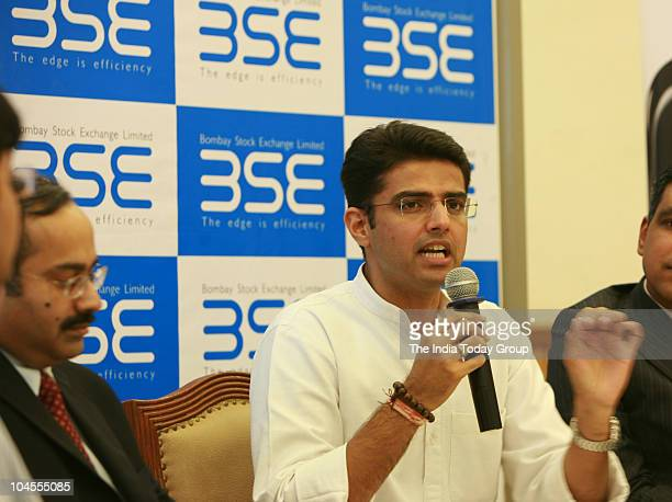 Union Minister of state for Communication and Information Technology Sachin Pilot answers media person's at the Bombay Stock Exchange in Mumbai on...